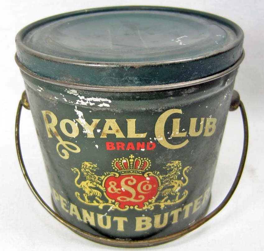 VINTAGE ROYAL CLUB PEANUT BUTTER ADVERTISING TIN - POSS