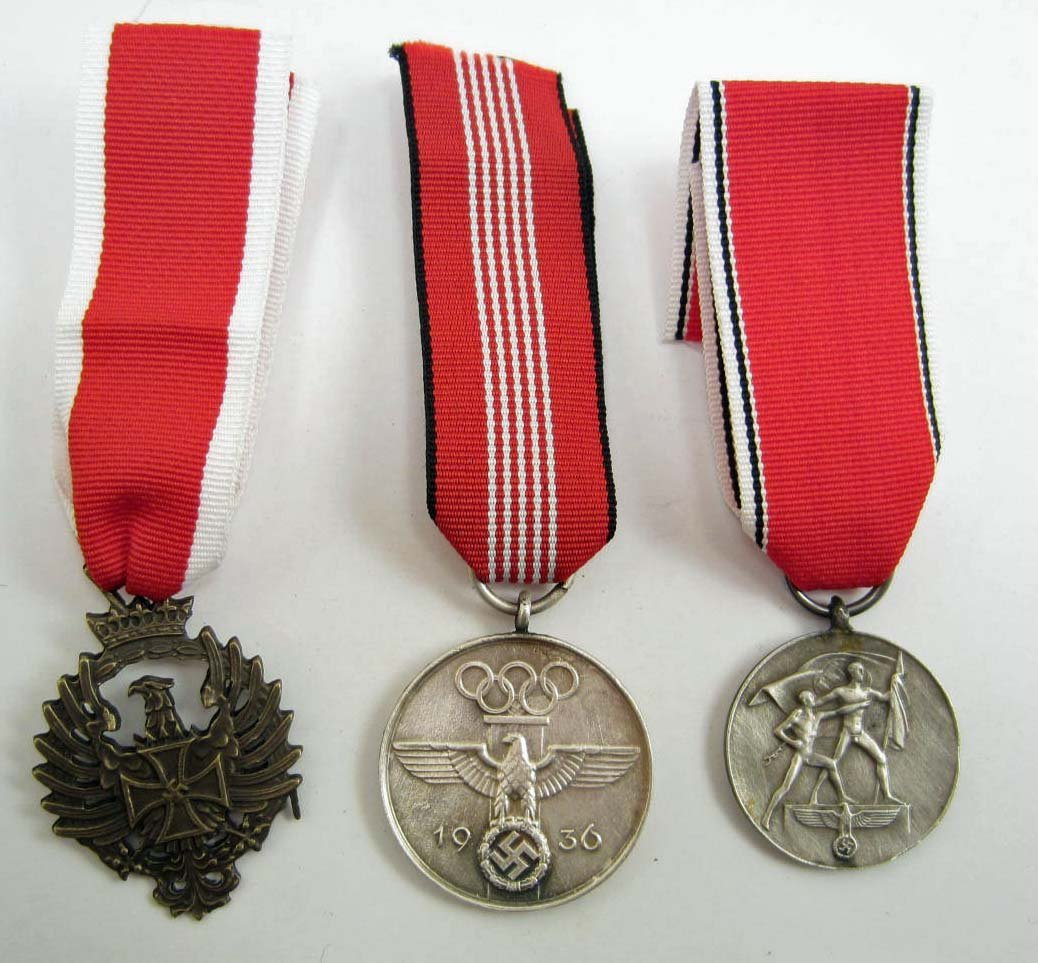 LOT OF 3 GERMAN NAZI MEDALS W/ RIBBONS