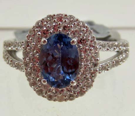 PLATINUM OVER STERLING SILVER LADIES TANZANITE & SAPPHI