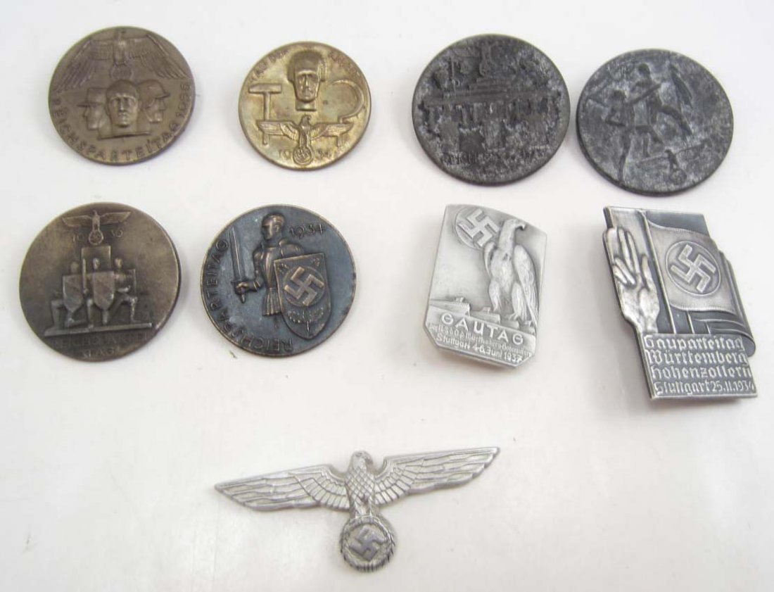 LOT OF 8 GERMAN NAZI RALLY TINNIE BADGES