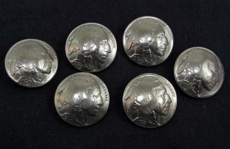 LOT OF 6 EARLY BUFFALO NICKLE BUTTONS - BUFFALOS ON FRO