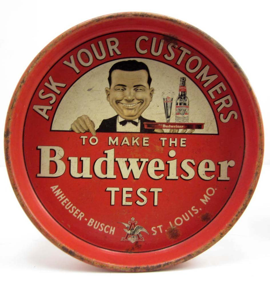 VINTAGE BUDWEISER ADVERTISING BEER TRAY