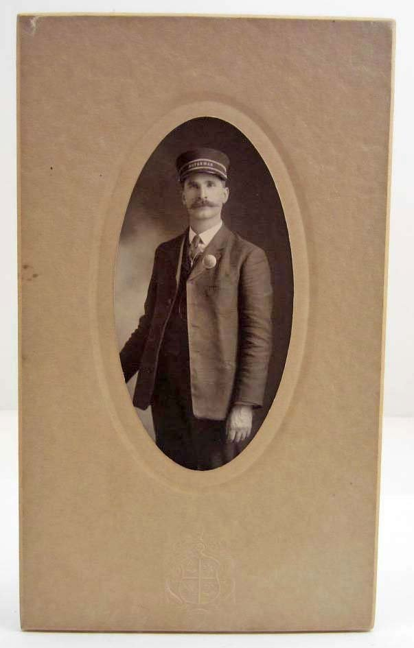 "CABINET PHOTO OF RAILROAD CONDUCTOR W/ ""RAILROAD MOTORM"