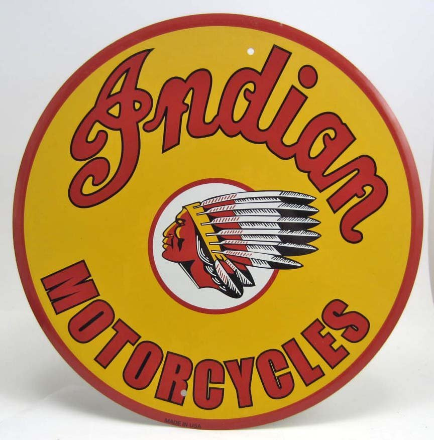 INDIAN MOTORCYCLES ROUND TIN SIGN - 12""