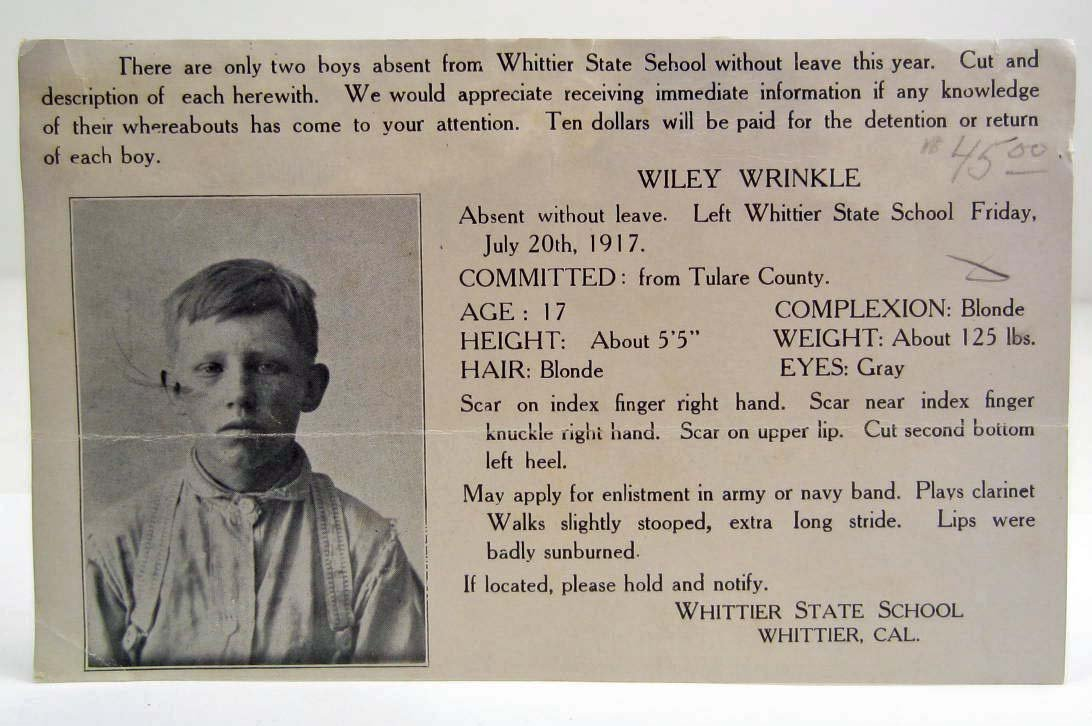 1917 WANTED POSTCARD FOR WILEY WRINKLE FOR LEAVING