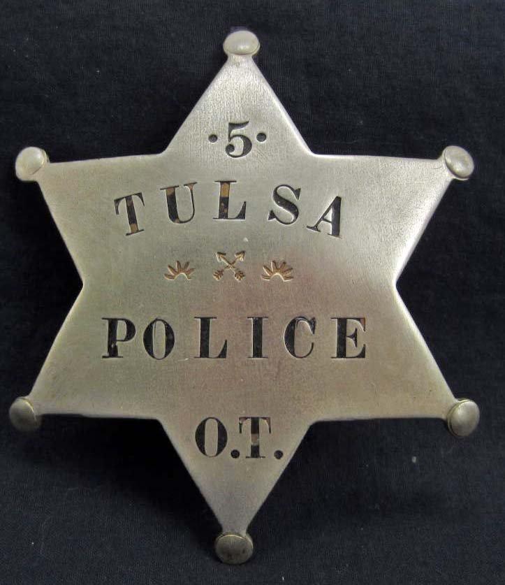 OLD WEST TULSA POLICE #5 OKLAHOMA TERRITORY LAW BADGE