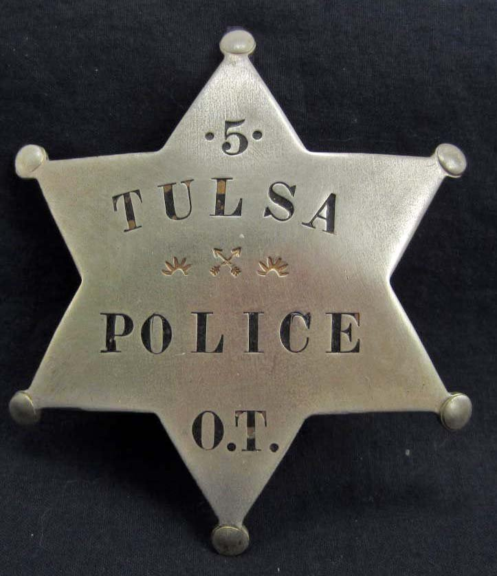 OLD WEST TULSA POLICE #5 OKLAHOMA TERRITORY LAW BADGE