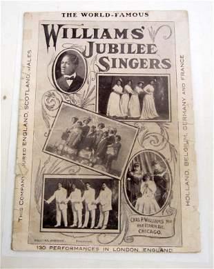 C. 1900 BLACK AMERICANA WORLD FAMOUS WILLIAMS' JUBILEE