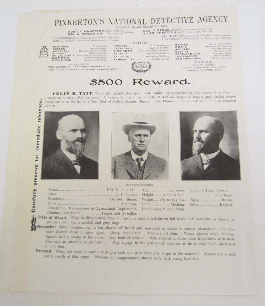 1907 $500 REWARD POSTER FROM THE PINKERTON DETECTIVE