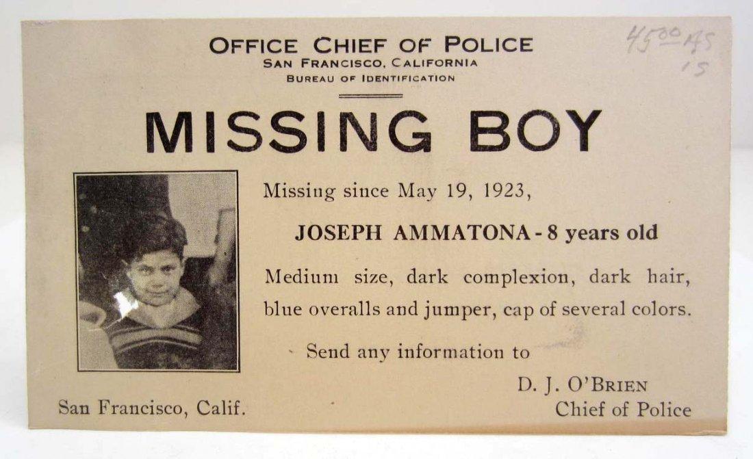 1923 LAW ENFORCEMENT MISSING BOY WANTED POSTCARD W/
