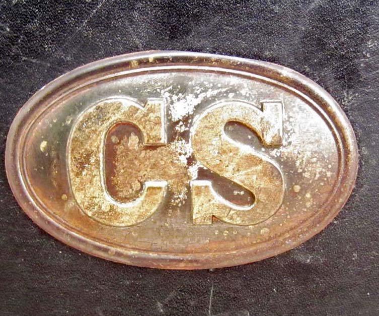 CONFEDERATE STATES CS CIVIL WAR LEATHER CARTRIDGE BOX - 2
