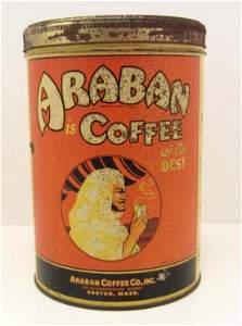 "VINTAGE ARABAN COFFEE ADVERTISING TIN - 6.25"" TALL"