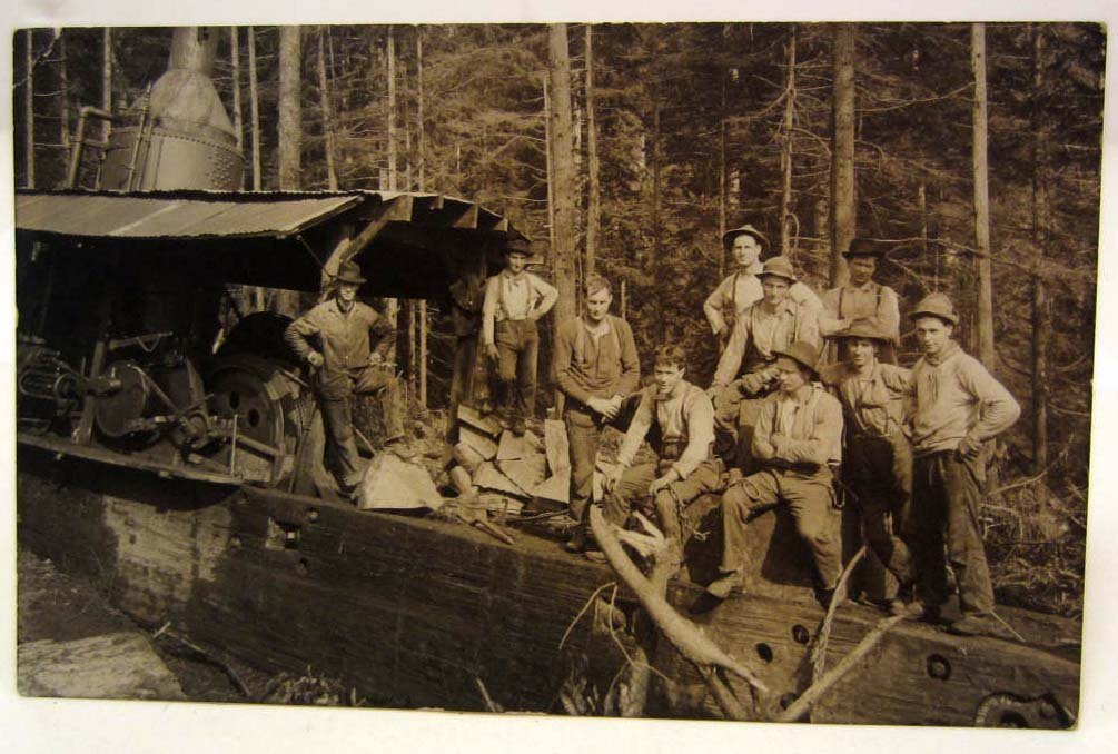 RPPC REAL PHOTO POSTCARD OF LOGGERS W/ STEAM DONKEY AT