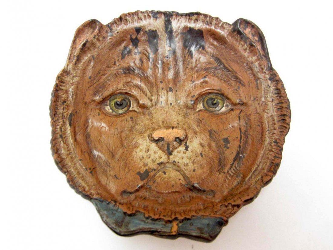 VIENNA BRONZE CAT'S HEAD TRINKET TRAY