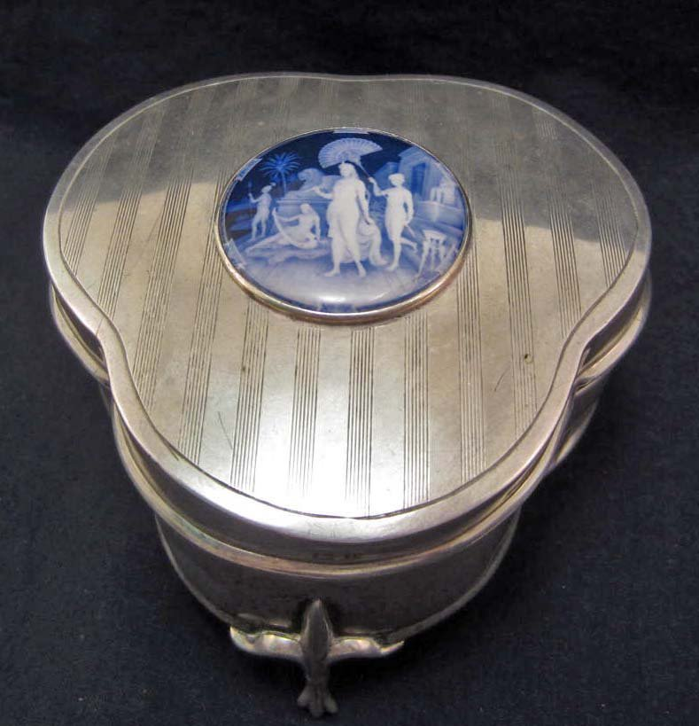 ANTIQUE STERLING SILVER TRINKET BOX W/ ENAMEL GEORGE