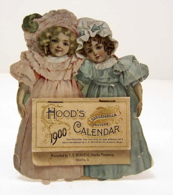 1900 HOOD'S SASPARILLA DIE CUT ADVERTISING CALENDAR W/