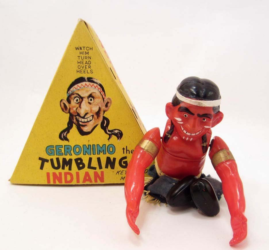 VINTAGE GERONIMO THE TUMBLING INDIAN WIND UP TOY IN