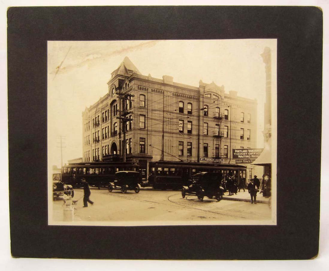 EARLY MOUNTED PHOTO OF THE ST. FRANCIS HOTEL IN