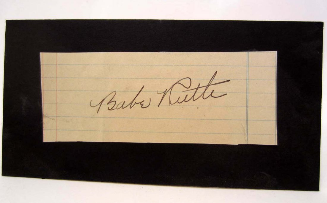 BABE RUTH SIGNATURE ON PIECE OF PAPER MOUNTED TO A
