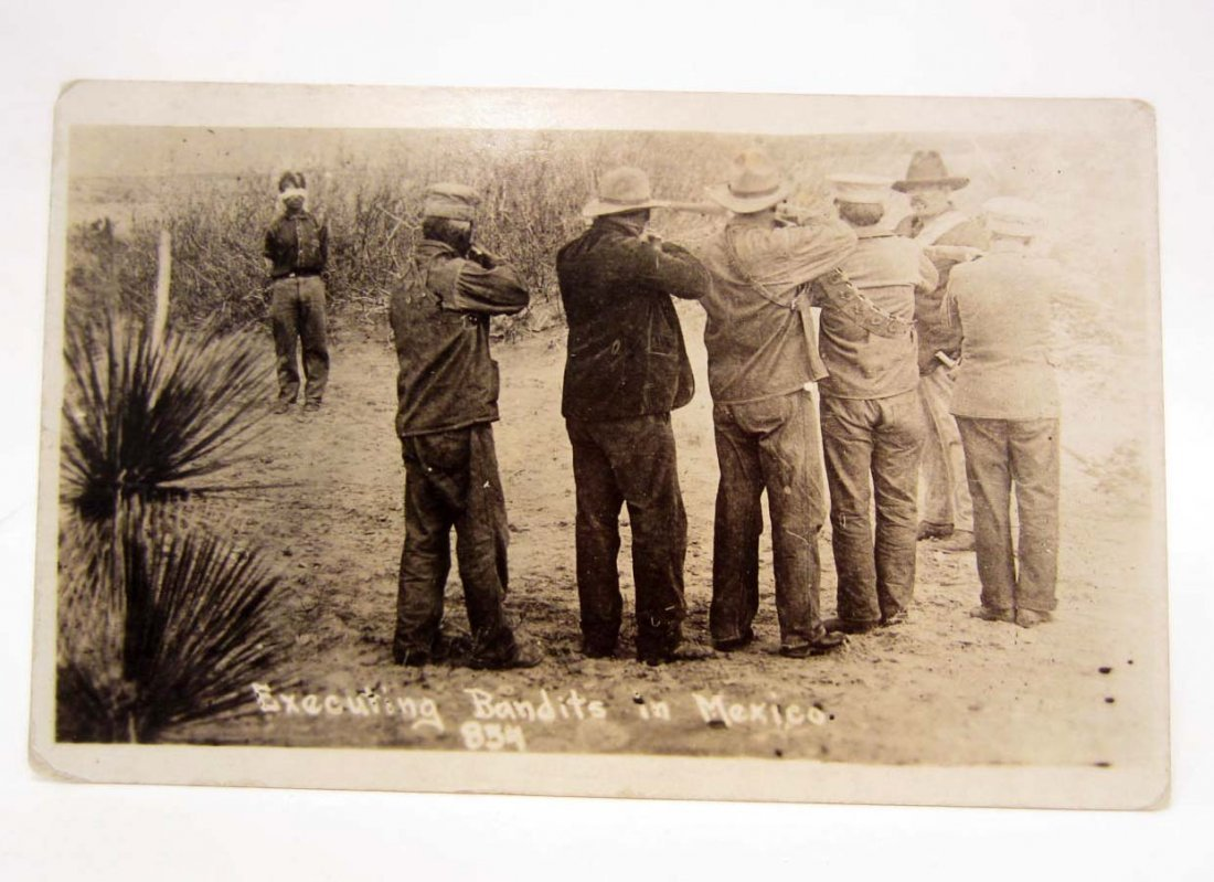 EARLY RPPC REAL PHOTO POSTCARD OF SOLDIERS EXECUTING