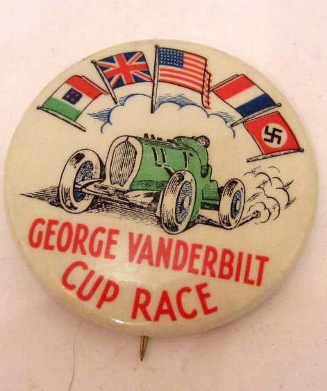 1936 GEORGE VANDERBILT CUP RACE CAR CELLULOID BADGE