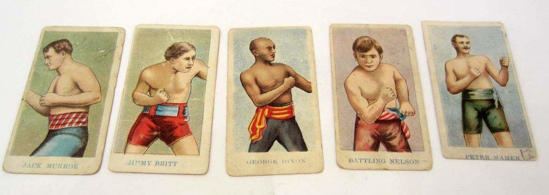 LOT OF 5 ANTIQUE PRIZE FIGHTER / BOXER CARAMEL CARDS