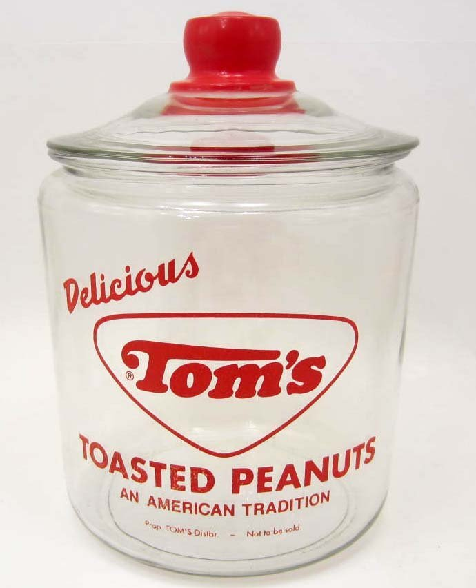 VINTAGE TOM'S TOASTED PEANUTS GLASS COUNTER DISPLAY