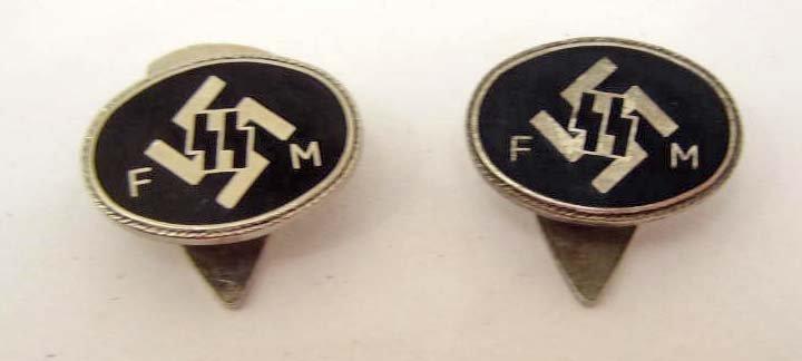 PAIR OF GERMAN NAZI WAFFEN SS FM OFFICERS CUFF LINKS