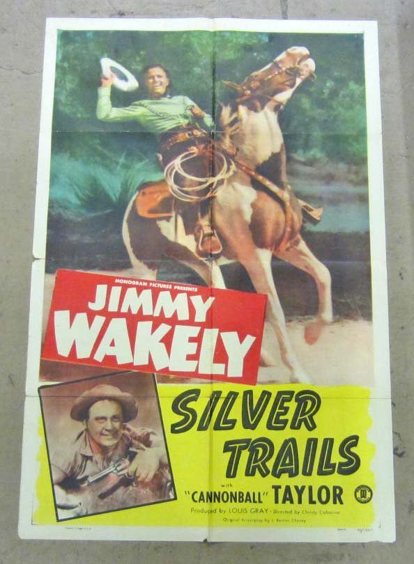 1948 SILVER TRAILS MOVIE POSTER STARING JIMMY WAKELY