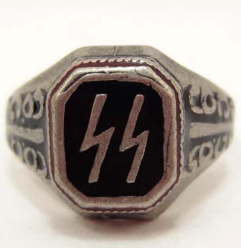 STERLING SILVER GERMAN NAZI SS ENAMELED RING