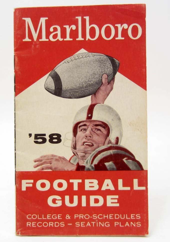1958 MARLBORO FOOTBALL GUIDE - COLLEGE & PRO