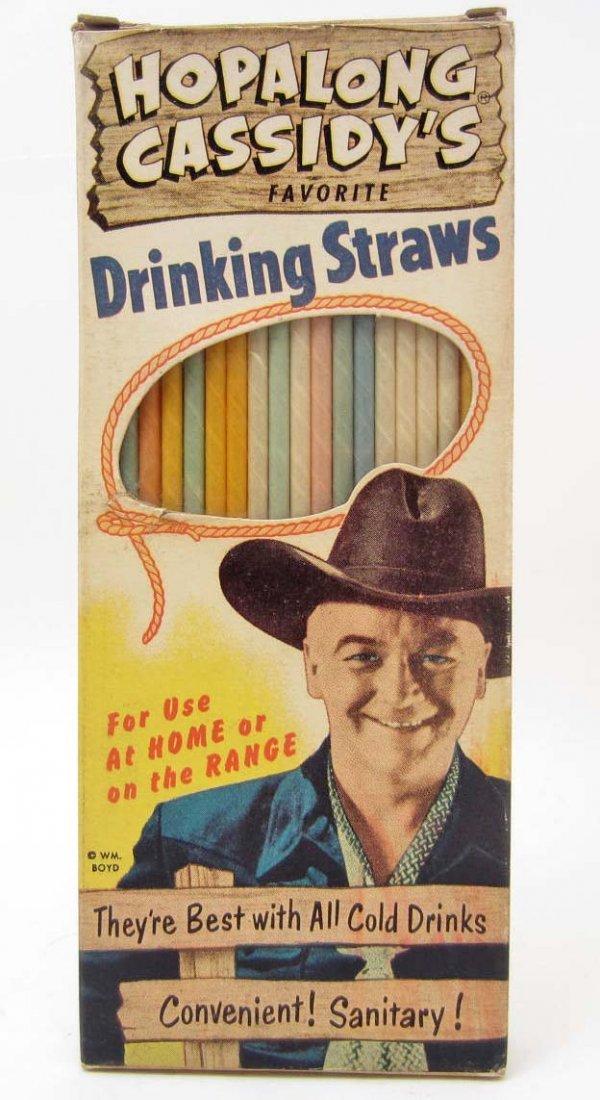 VINTAGE HOPALONG CASSIDY DRINKING STRAWS IN ORIGINAL
