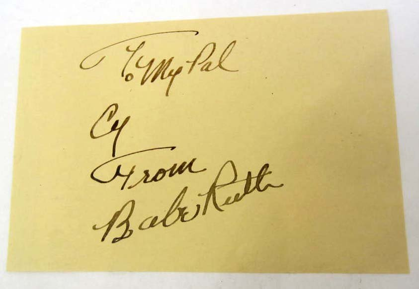 BABE RUTH SIGNATURE ON PAPER - INSCRIBED TO CY