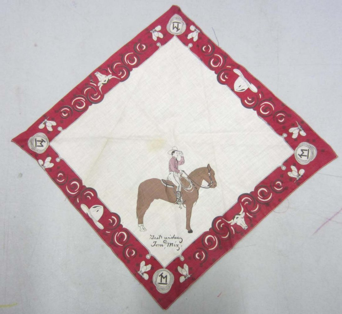 """1930'S TOM MIX WESTERN BANDANA W/ HORSE """"TONY"""""""