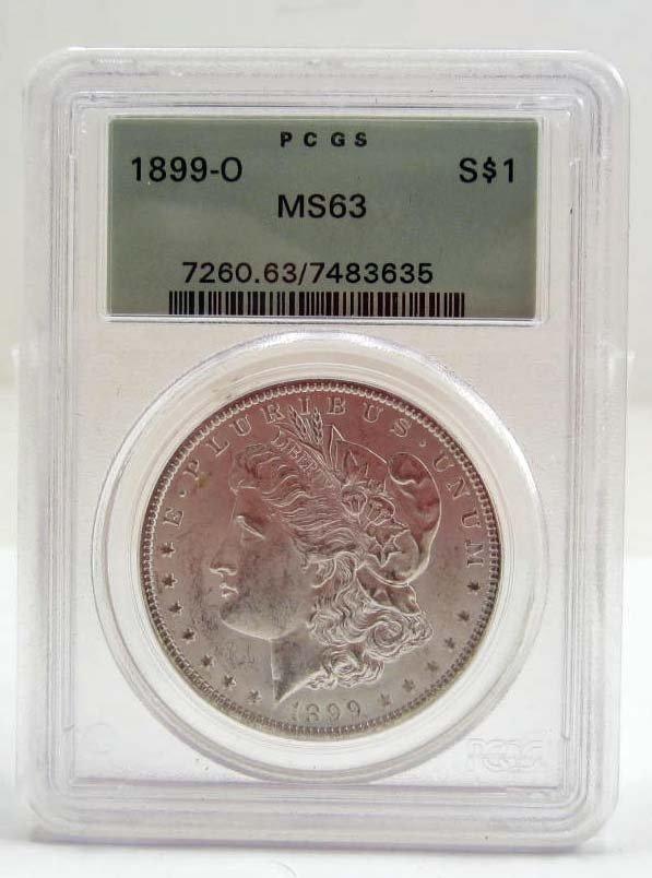 1899-O MORGAN SILVER DOLLAR - PCGS MS63