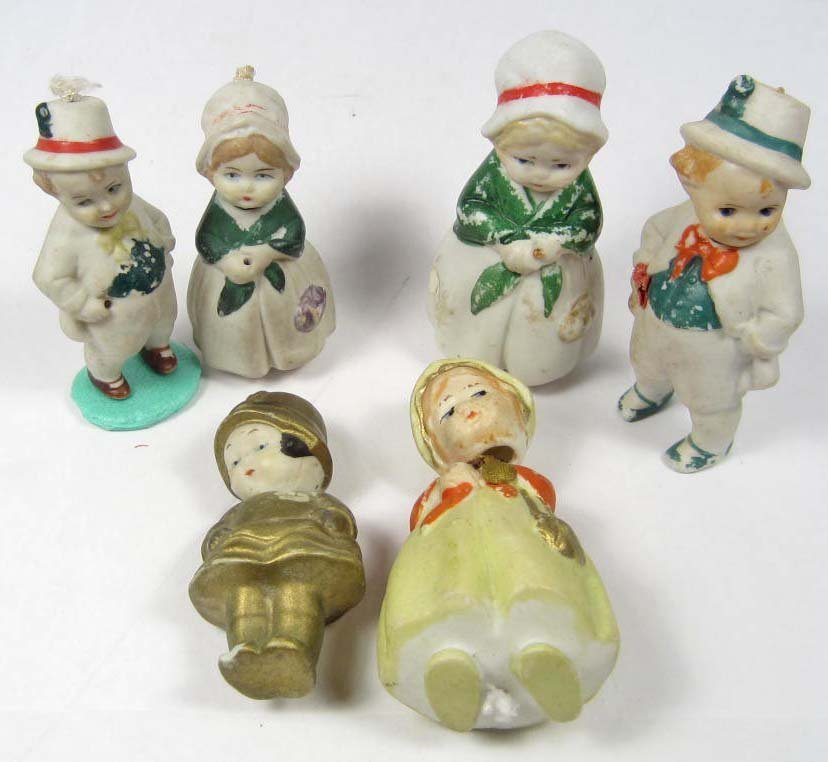 LOT OF 6 EARLY GERMAN AND JAPAN BISQUE BOBBLE HEAD