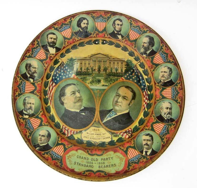 RARE 1908 TAFT FOR PRESIDENT SOUVENIR CAMPAIGN PLATE