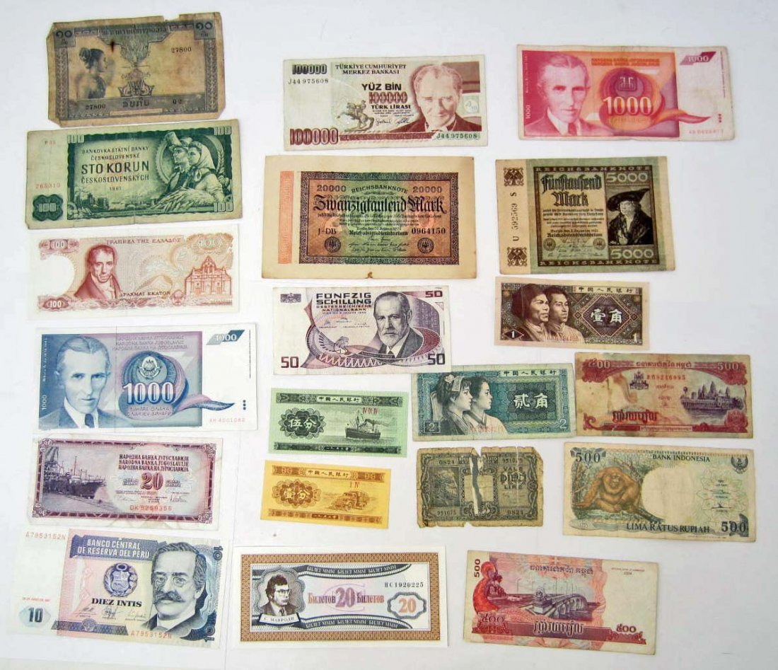 LOT OF 20 FOREIGN CURRENCY NOTES - INCLUDING VINTAGE