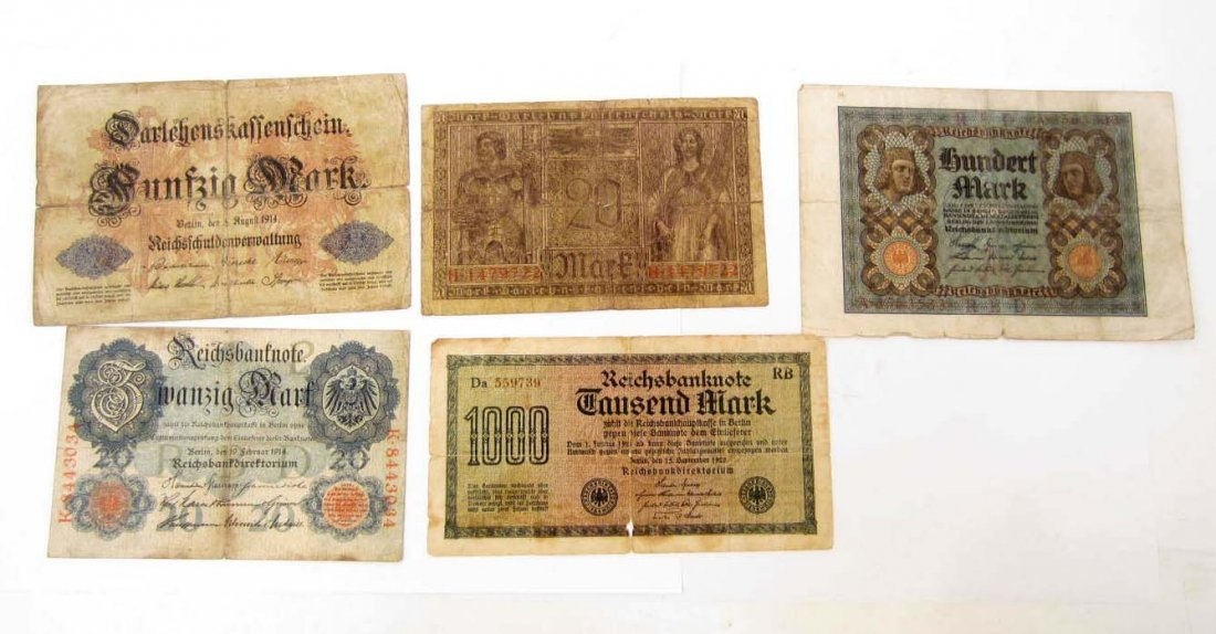LOT OF 5 1914 - 1922 GERMAN BANK NOTES