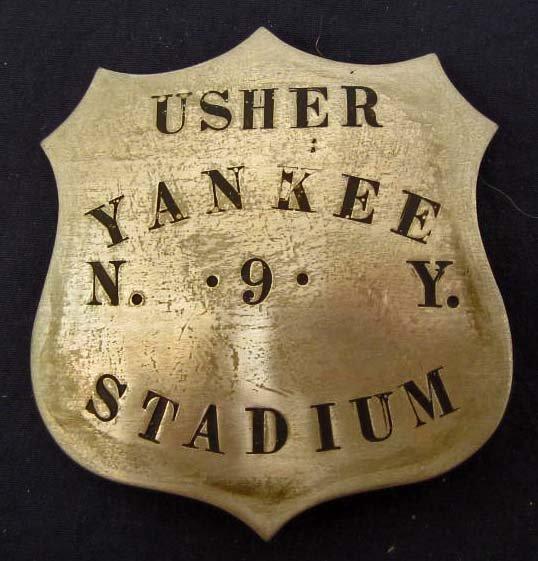 NEW YORK YANKEE STADIUM #9 USHER BADGE