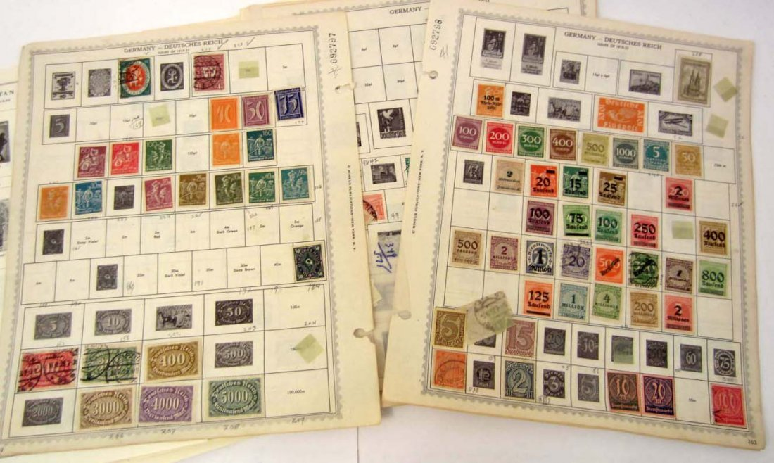 LARGE LOT OF VINTAGE GERMAN STAMPS ON ALBUM PAGES