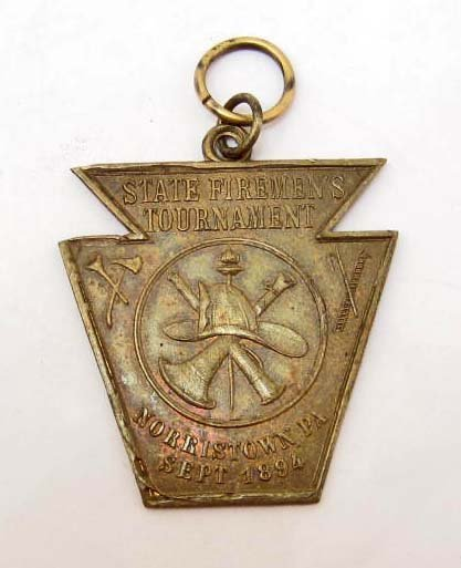 1894 STATE FIREMEN'S TOURNAMENT MEDAL - NORRISTOWN, PA
