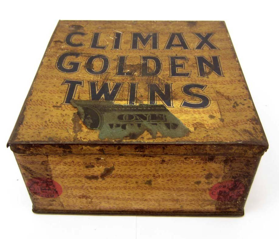 VINTAGE CLIMAX GOLDEN TWINS TOBACCO ADVERTSING TIN