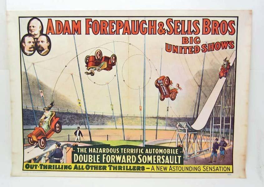 1960 CIRCUS POSTER - ADAM FOREPAUGH & SELL BROS. CIRCUS