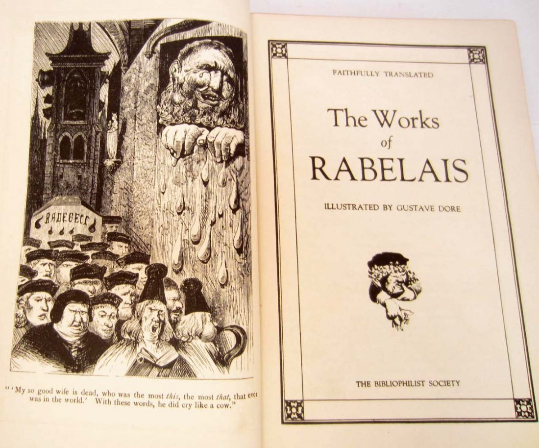 "VINTAGE ""THE WORKS OF RABELAIS"" HARDCOVER BOOK ILLUS."