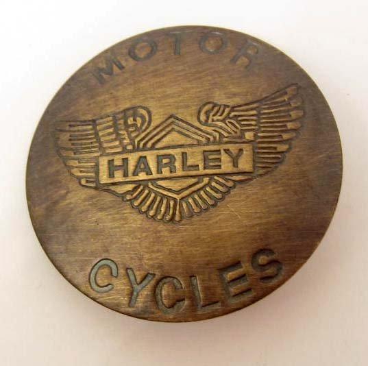 HARLEY DAVIDSON MOTORCYCLES BRASS COLLECTIBLE BADGE