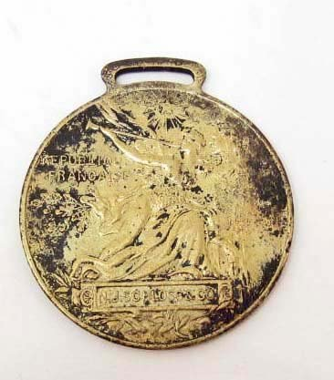 RARE 1889 FRENCH EXPOSITION WATCH FOB