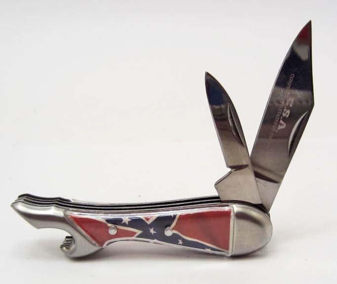 CONFEDERATE FLAG MINI LEG KNIFE W/ 2 BLADES