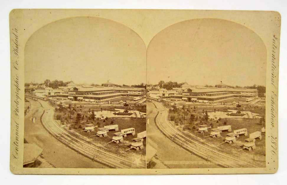 1876 STEREOVIEW PHOTO CARD AT INTERNATION EXPOSITION