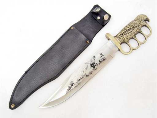 Eagle Brass Knuckle Bowie Knife W Sheath